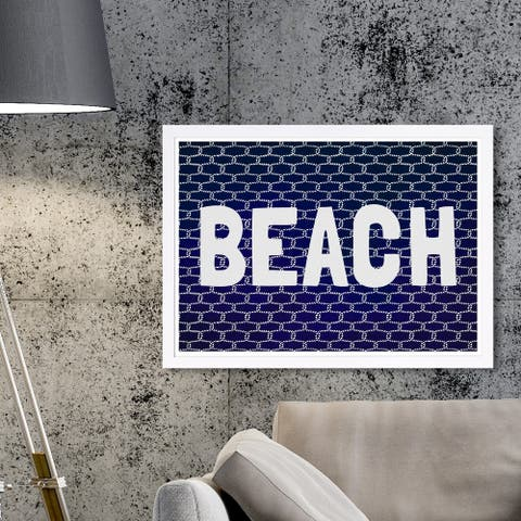 Wynwood Studio 'Beach Knot' Typography and Quotes Framed Wall Art Print - Blue, White
