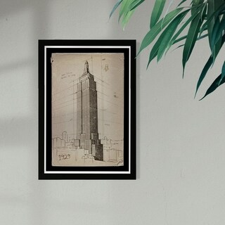 Wynwood Studio 'Empire State Building 1929' Architecture and Buildings Framed Wall Art Print - Brown, Black - 13 x 19