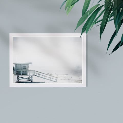 Wynwood Studio 'Beach in Bohemia' Nautical and Coastal Framed Wall Art Print - White, Gray - 19 x 13