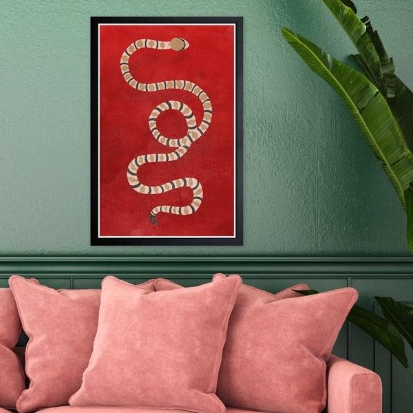 Wynwood Studio 'Ruby Snake' Animals Framed Wall Art Print - Red, Brown - 13 x 19