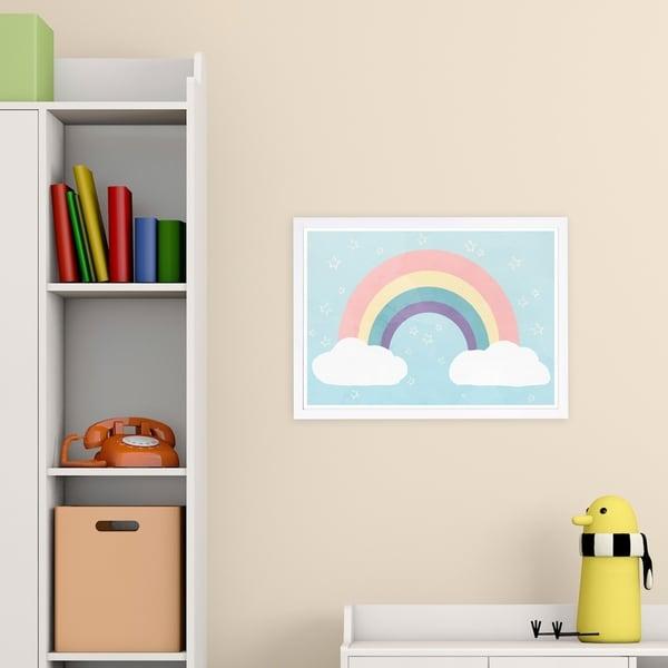 Wynwood Studio 'Soft Rainbow' Nature and Landscape Framed Wall Art Print - Blue, Pink - 19 x 13