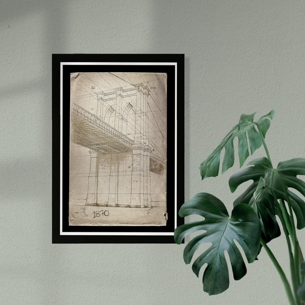 Wynwood Studio 'Brooklyn Bridge 1870' Architecture and Buildings Framed Wall Art Print - Brown, Black - 13 x 19