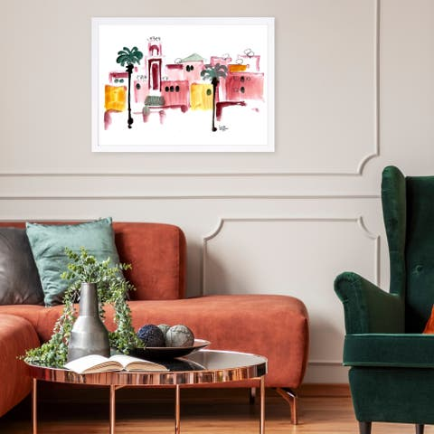 Wynwood Studio 'Denise Elnajjar - Marrakech' World and Countries Framed Wall Art Print - Red, White - 19 x 13