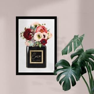 Wynwood Studio 'Floral Gold Perfume' Fashion and Glam Framed Wall Art Print - Gold, Black - 13 x 19
