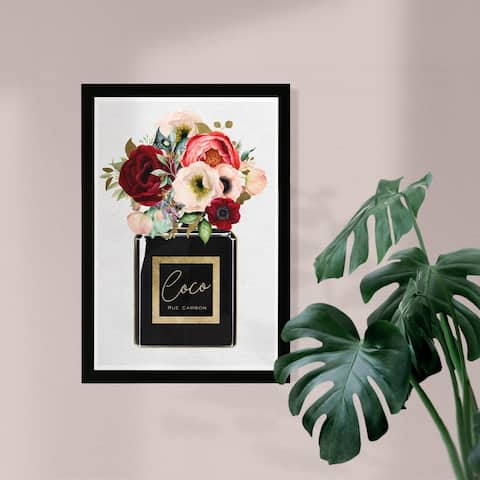 Wynwood Studio 'Floral Gold Perfume' Fashion and Glam Framed Wall Art Print - Gold, Black