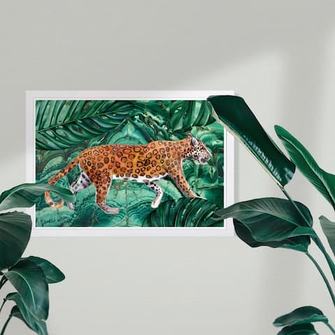 Wynwood Studio 'Cougar Jungle' Animals Framed Wall Art Print - Orange, Green