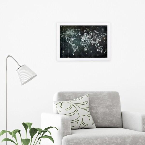 Wynwood Studio 'Mapamundi Galaxy' Maps and Flags Framed Wall Art Print - Black, White - 19 x 13
