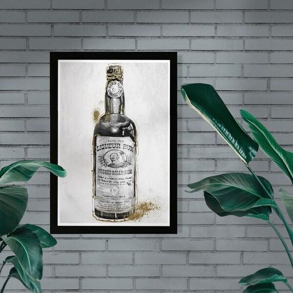 Wynwood Studio 'Rum Night' Drinks and Spirits Framed Wall Art Print - Black, White - 13 x 19