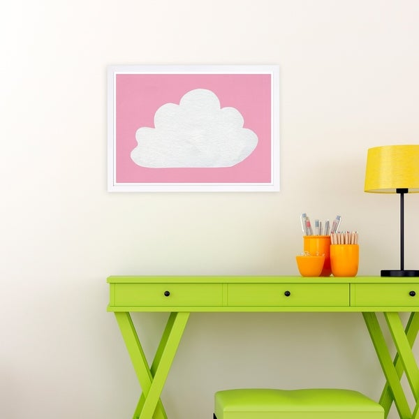 Wynwood Studio 'Cloud' Nature and Landscape Framed Wall Art Print - Pink, White - 19 x 13