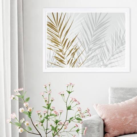 Wynwood Studio 'Eucalyptus Palm Gold' Floral and Botanical Framed Wall Art Print - Gold, White - 19 x 13