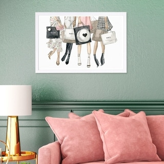Wynwood Studio 'Shopping Date in Paris' Fashion and Glam Framed Wall Art Print - Pink, Gray - 19 x 13