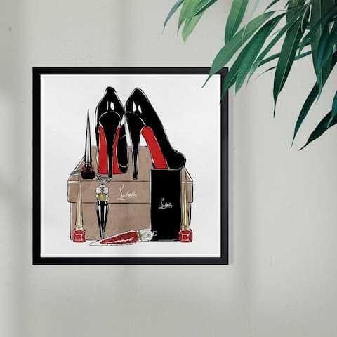 Wynwood Studio 'High Heels High Fashion' Fashion and Glam Framed Wall Art Print - Black, Red - 13 x 13