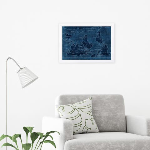 Wynwood Studio 'Upside-Down Map of the World' Maps and Flags Framed Wall Art Print - Blue, Blue