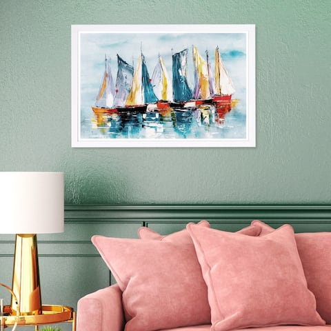 Wynwood Studio 'Beautiful Boat Day' Nautical and Coastal Framed Wall Art Print - Blue, Orange