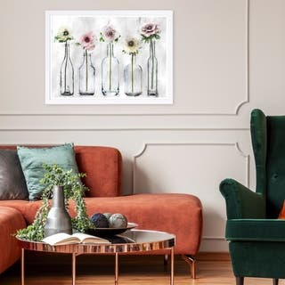 Wynwood Studio 'Anemone Floral' Floral and Botanical Framed Wall Art Print - Gray, Pink - 19 x 13