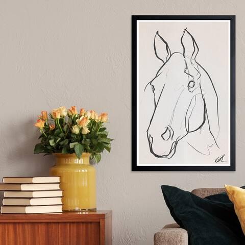 Wynwood Studio 'Stallion Sketch III' Animals Framed Wall Art Print - Black, White - 13 x 19