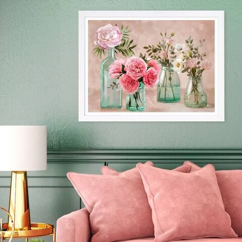 Wynwood Studio 'Glassy Blush Flowers' Floral and Botanical Framed Wall Art Print - Green, Pink - 19 x 13