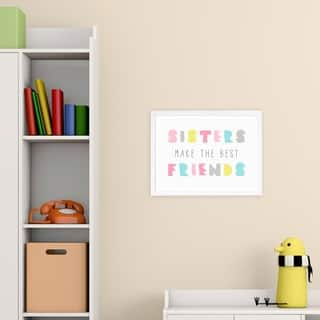 Wynwood Studio 'Best Friend Sisters Bright' Typography and Quotes Framed Wall Art Print - White, Pink - 19 x 13