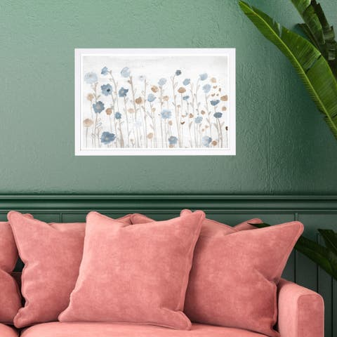 Wynwood Studio 'Beautiful Growth Light Blue' Floral and Botanical Framed Wall Art Print - Blue, Brown - 19 x 13