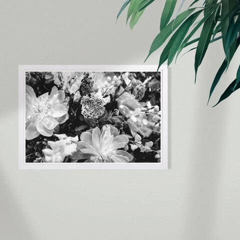Wynwood Studio 'Dark Flora' Floral and Botanical Framed Wall Art Print - Black, White
