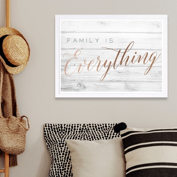 Wynwood Studio 'Family is Everything' Typography and Quotes Framed Wall Art Print - Bronze, Gray - 19 x 13