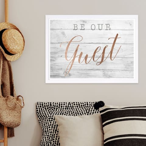 Wynwood Studio 'Be Our Guest Copper' Typography and Quotes Framed Wall Art Print - White, Pink