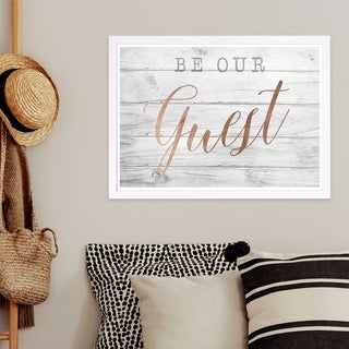 Wynwood Studio 'Be Our Guest Copper' Typography and Quotes Framed Wall Art Print - White, Pink - 19 x 13