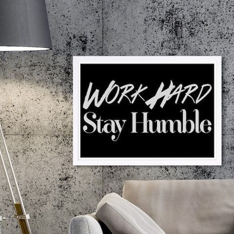 Wynwood Studio 'Work Hard' Typography and Quotes Framed Wall Art Print - Black, White - 19 x 13