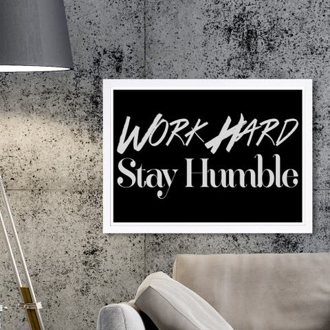 Wynwood Studio 'Work Hard' Typography and Quotes Framed Wall Art Print - Black, White