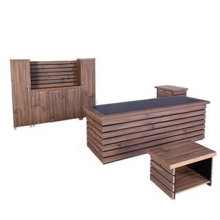 "Modern Elise 4 Piece Desk Office Suite Furniture Set 87"" Rustic Brown & Black"