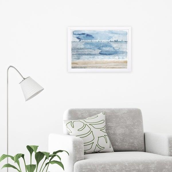 Wynwood Studio 'Miami Bay' Cities and Skylines Framed Wall Art Print - Blue, Yellow - 19 x 13