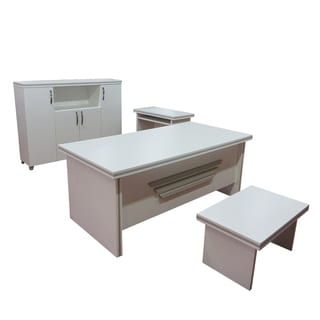 "Modern New Star 5 Piece Desk Office Suite Furniture Set 71"" White"
