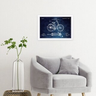 Wynwood Studio 'Fryer Driving Gear for Bicycle 1893 Horizontal Chalkboard ' Transportation Framed Wall Art Print - Blue, White