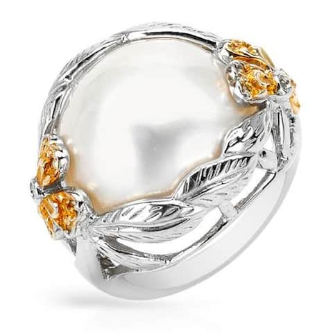 PEARL LUSTRE White Mabe Pearl Ring in Sterling Silver with Diamonds.