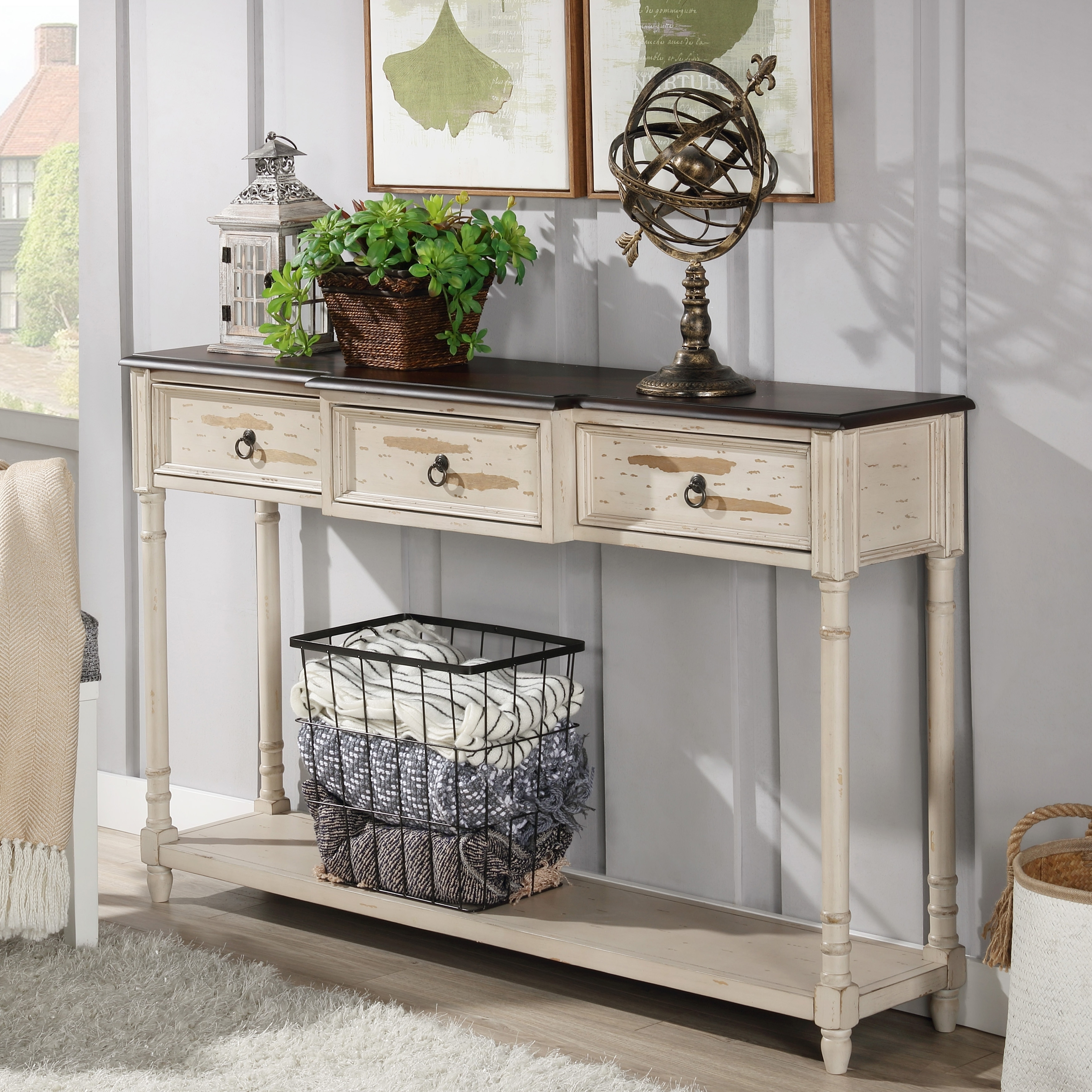 The Gray Barn Hogback Farmhouse Antique White Console Table On Sale Overstock 28893322