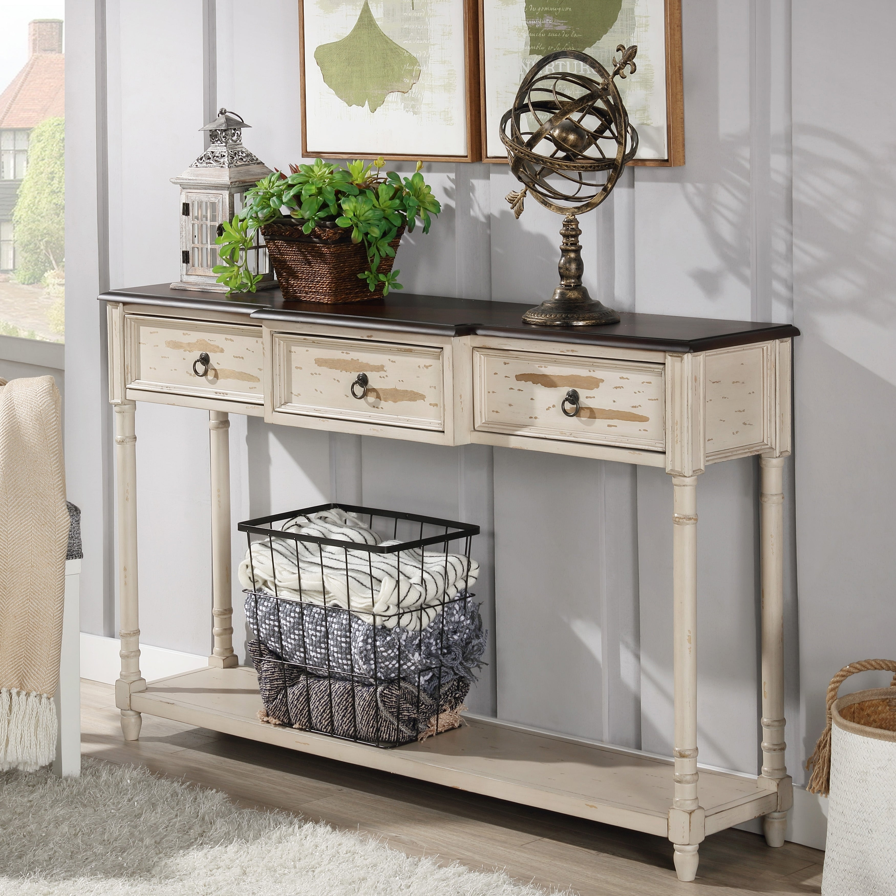 The Gray Barn Hogback Farmhouse Antique White Console Table