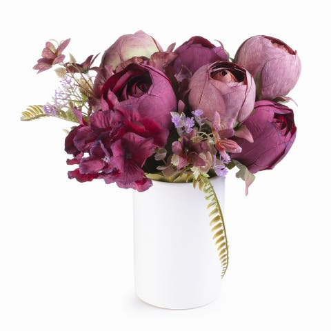Enova Home Purple Silk Peony and Hydrangea Flower Arrangement in Ceramic Vase For Home Wedding Decoration