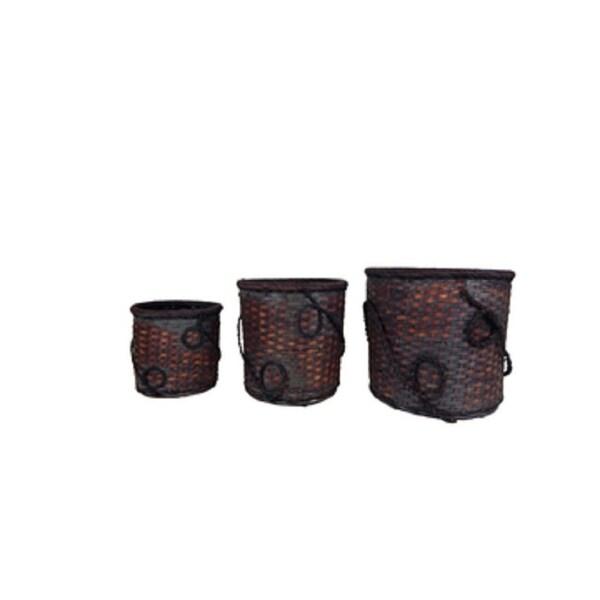 """13"""" Dark Brown Decorative Rattan 3 piece set"""