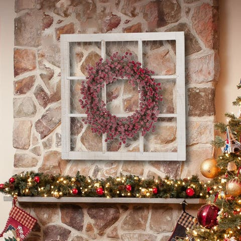 "Glitzhome 24""L Wooden Frame with Floral Wreath Wall Decor"