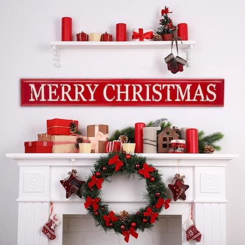 "Glitzhome 45.75''L Enameled Metal ""MERRY CHRISTMAS"" Wall Sign"