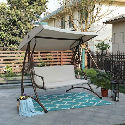 Claribelle 3-person Cushioned Covered Porch Swing Chair by Havenside Home