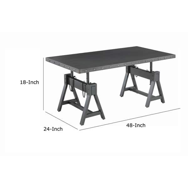 Shop Metal Coffee Table With Adjustable Height And Nailhead