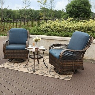 Link to Clarese 3-piece Rattan Swivel Rocking Conversation Set by Havenside Home Similar Items in Outdoor Sofas, Chairs & Sectionals