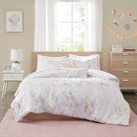 Intelligent Design Jennifer Gold Metallic Printed Floral Comforter Set