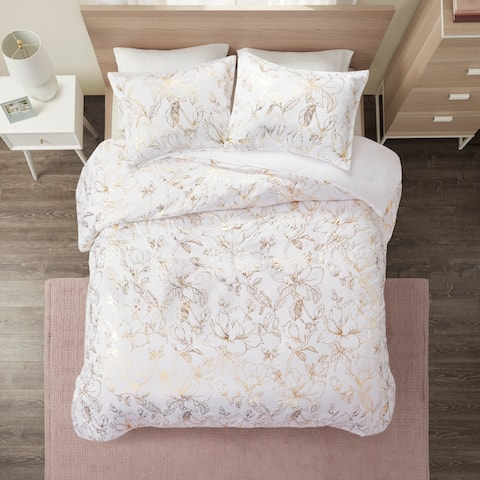 Intelligent Design Jennifer Gold Metallic Printed Floral Duvet Cover Set