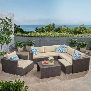 Santa Rosa Outdoor 6 Seater Wicker V-Shaped Sectional Sofa Set with Ottomans by Christopher Knight Home