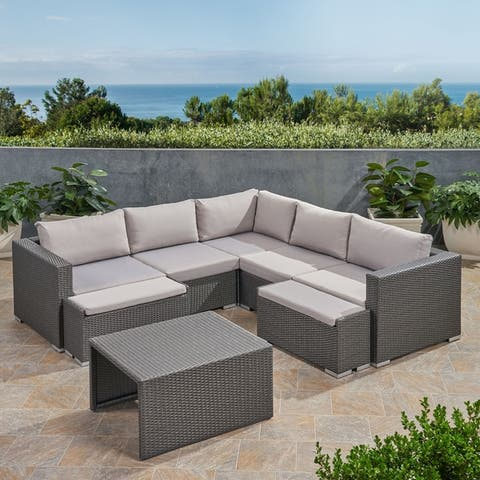 Santa Rosa Outdoor 5 Seater Wicker V-Shaped Sectional Sofa Set with Ottomans by Christopher Knight Home