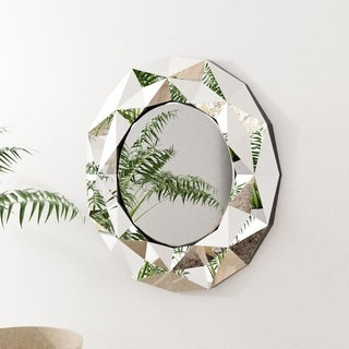Silver Orchid Badgley 39.5-inch Round Silver Wall Mirror