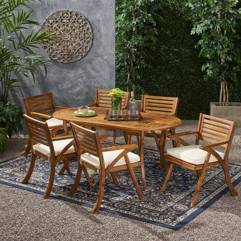 Hermosa Outdoor 6 Seater Acacia Wood Oval Dining Set with Cushions by Christopher Knight Home