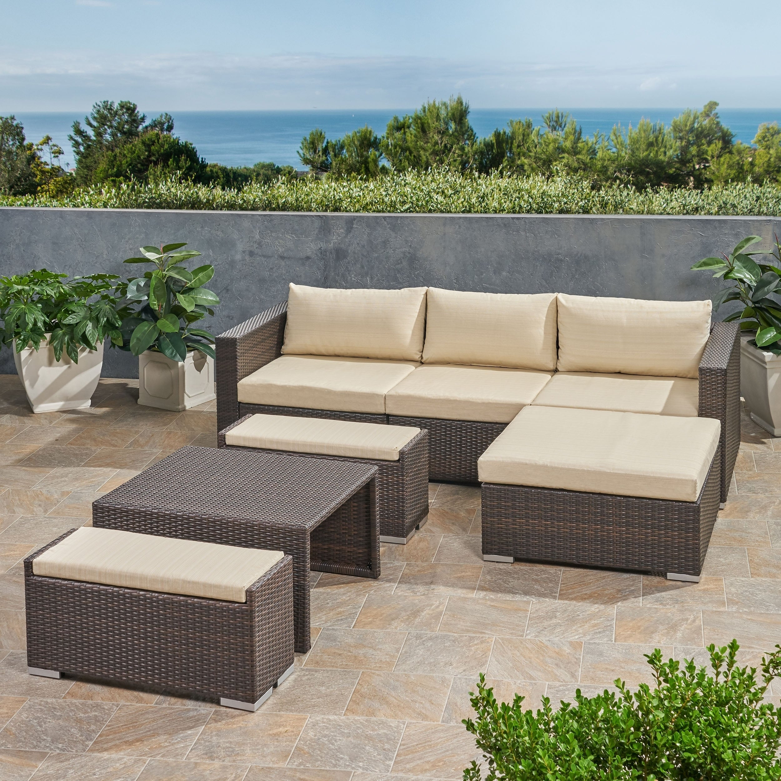 Outdoor 3 Seater Wicker L Shaped Sofa
